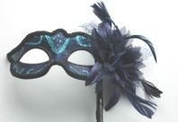 Blue & Black Flower Mask